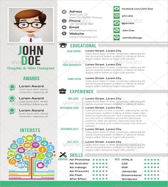 one page resume psd