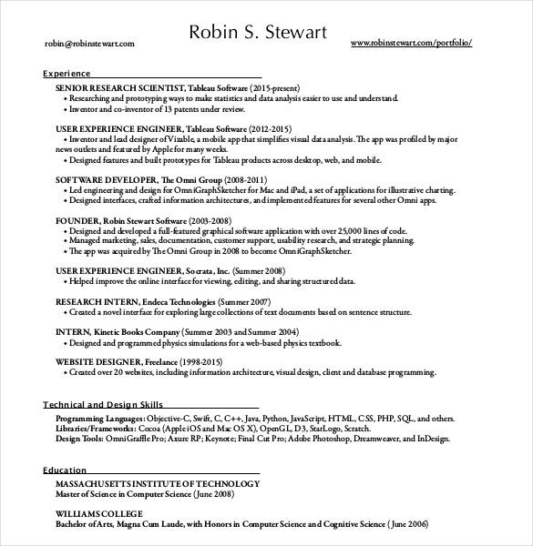 One Page Resume PDF  Two Page Resume Examples