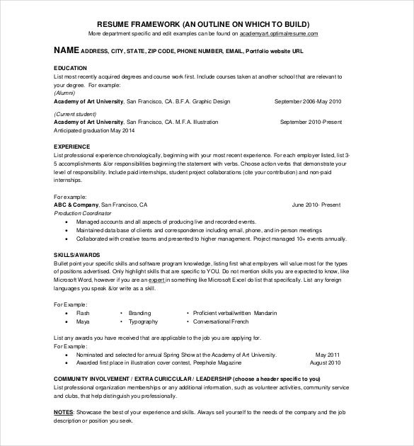 One Page Cv Sample  1 Page Resume Template