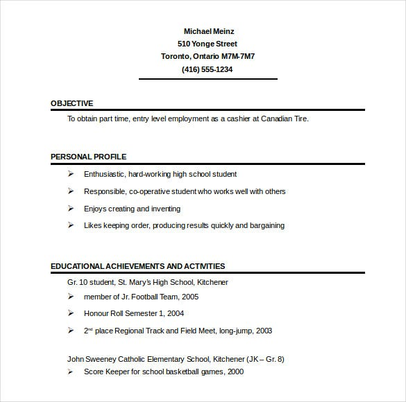 short 1 page resume template