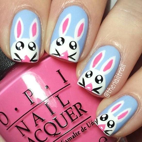 easter bunny nail desing