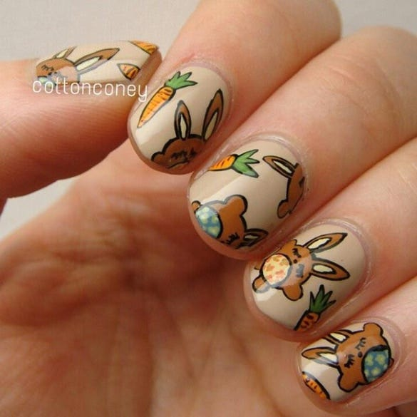 brown easter bunnies nail design