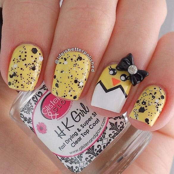 yellow easter nail design