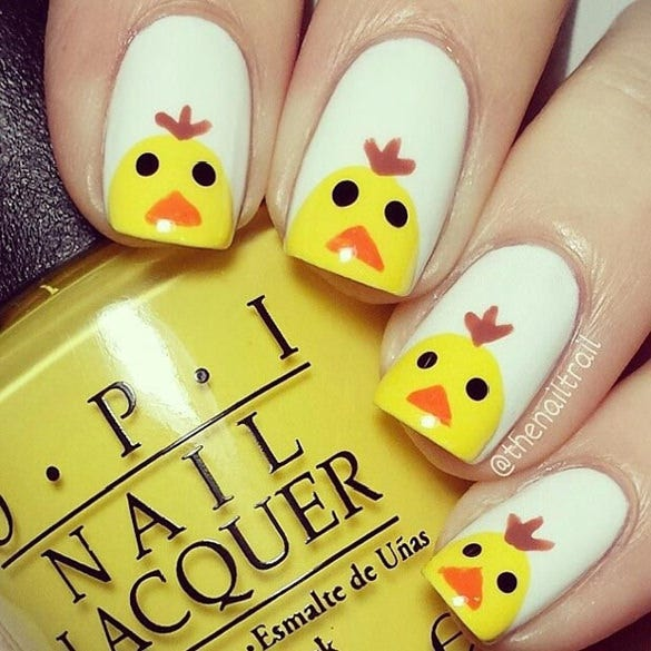 simple chiken easter nail design