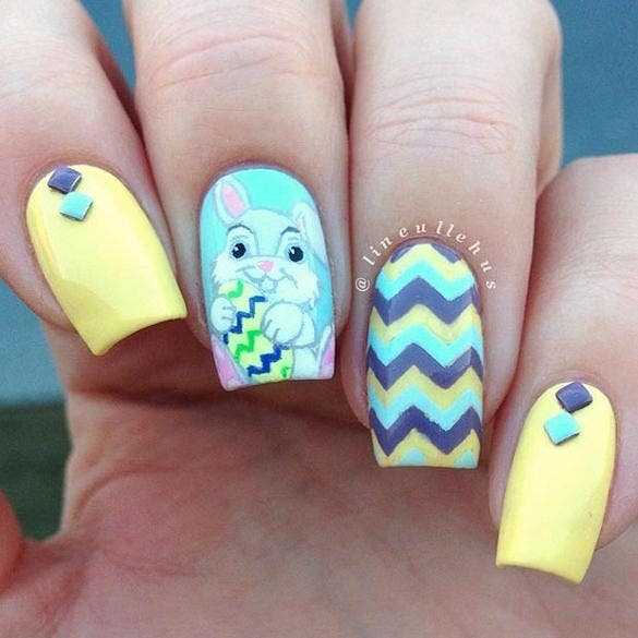 blue yellow easter nail design