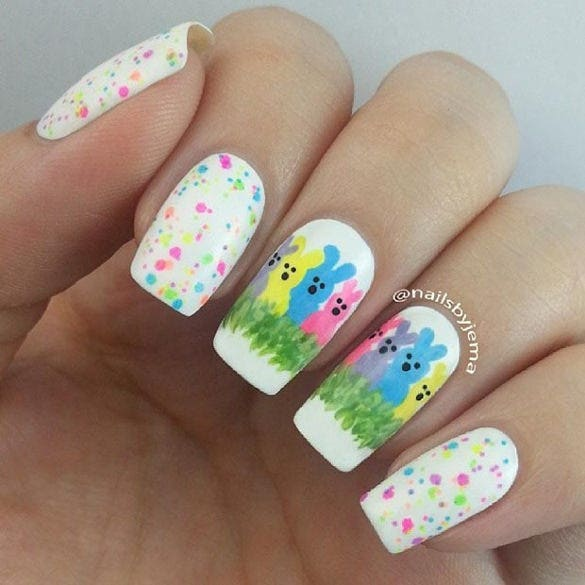 colorful easter bunny nail design