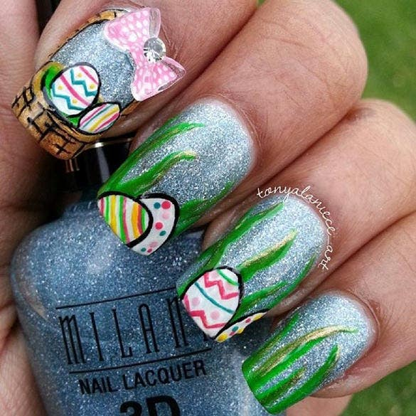 nail design of easter egg basket