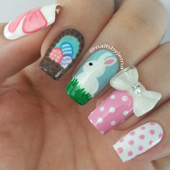 cute pink white easter nail design
