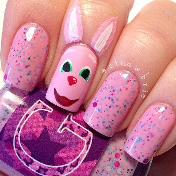 pink bunny easter nail design
