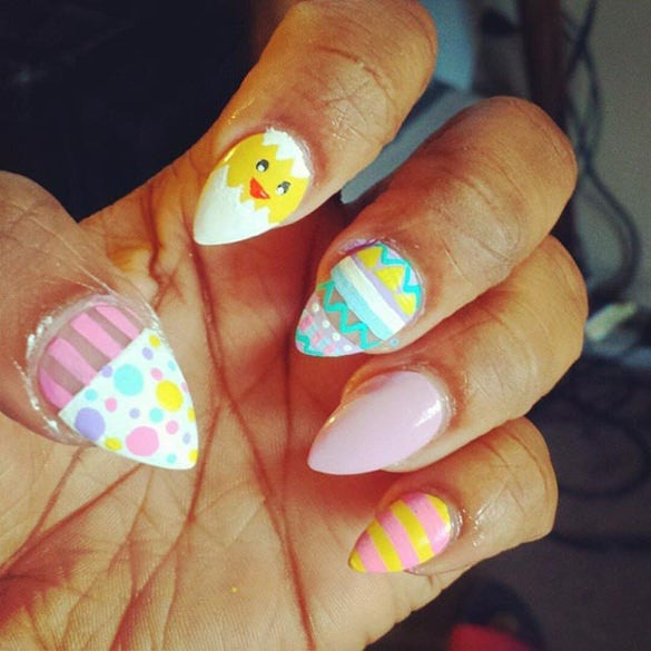 almond easter nail design for girls