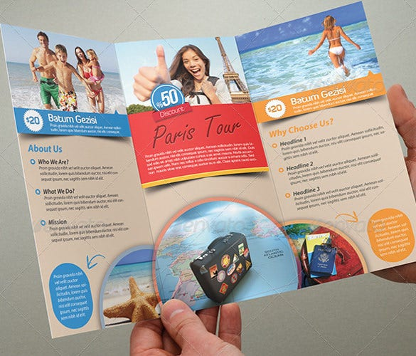 beach tourism brochure template