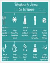 Blue Background Wedding Itinerary