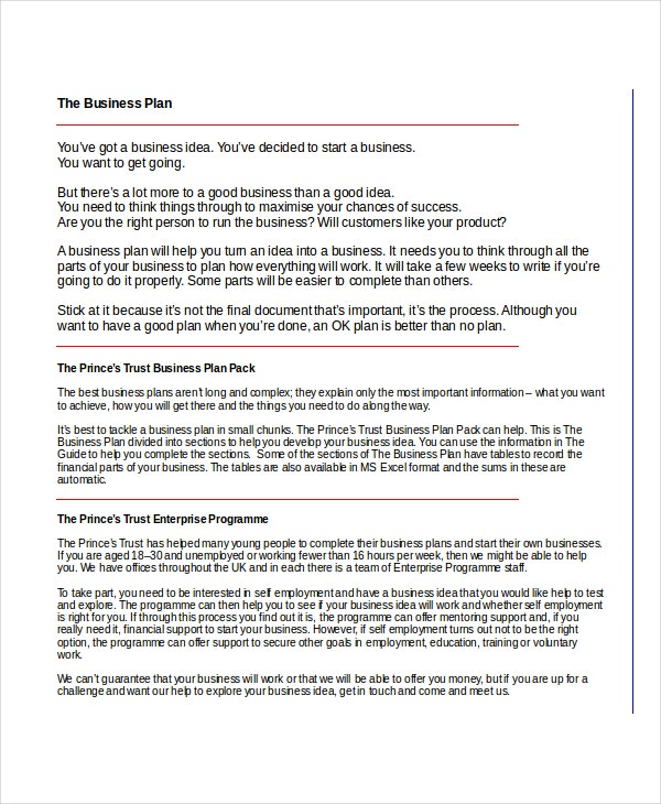 princess trust business plan template writing a business plan prince trust assignment of deed