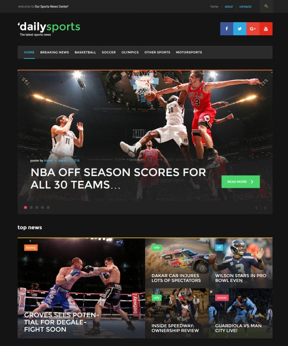 daily sports sport news blogging wordpress theme