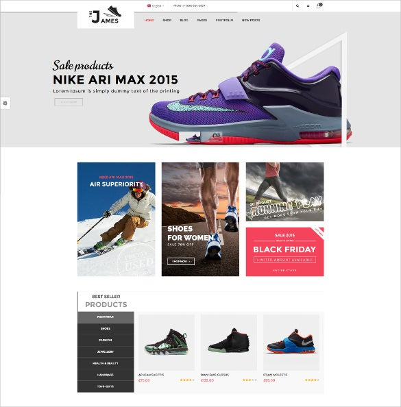 james responsive woocommerce wordpress shoes theme