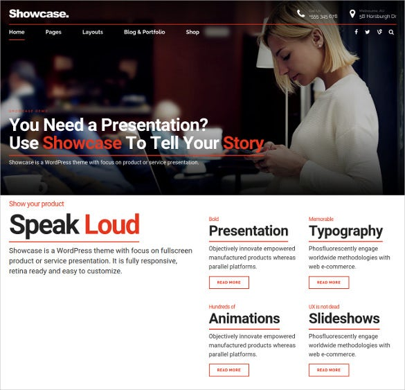 showcase product or service showcase wordpress theme