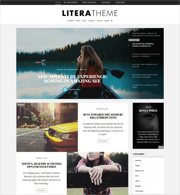 litera elegant personal blog wordpress theme