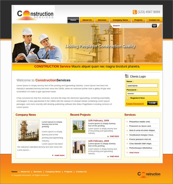 civil construction web page website template - Free Web Templates