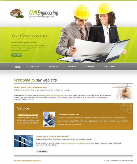 construction planning website template