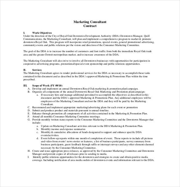 Consultant agreement template 15 free word pdf for Marketing scope of work template