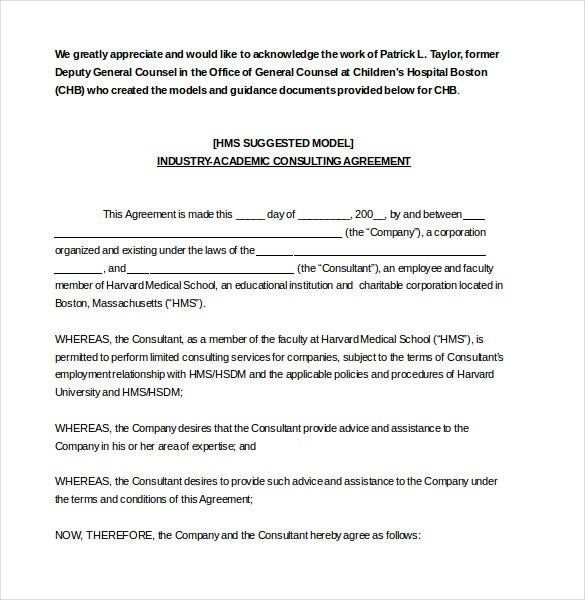 Consultant agreement template 15 free word pdf documents ecommonsdharvard since academics have to consult with the industry at one time or the other this word template agreement can be used spiritdancerdesigns