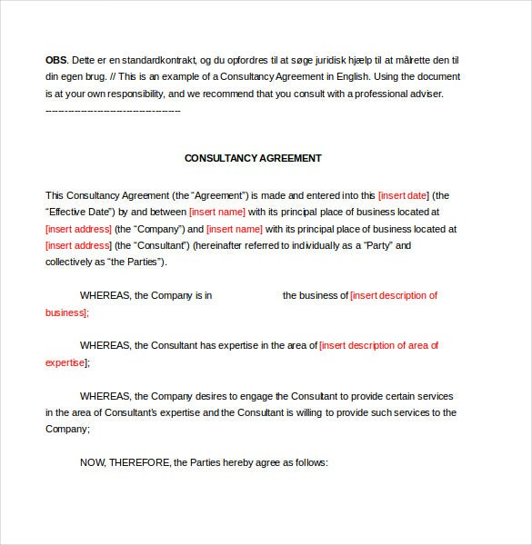 Consultant Agreement Template 11 Free Word PDF Documents – Standard Consulting Agreement