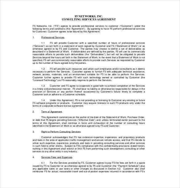 Consultant agreement template 15 free word pdf for Scope of services agreement template