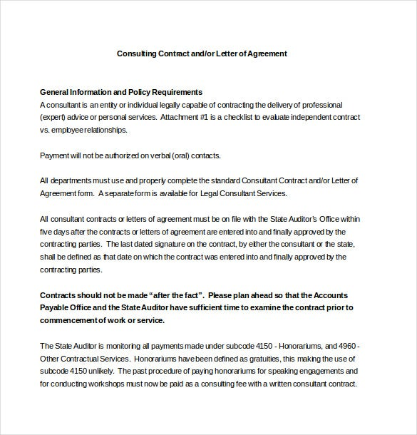 Consulting Contract Letter Of Agreement Template Word Document
