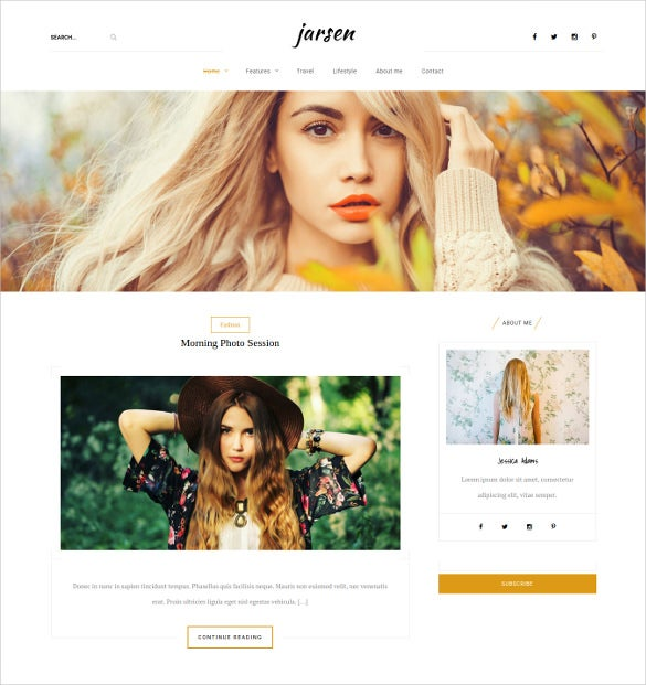 jarsen classic blog wordpress theme
