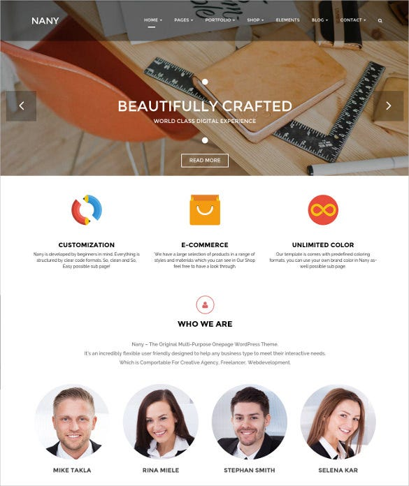 creative clean nany wordpress theme