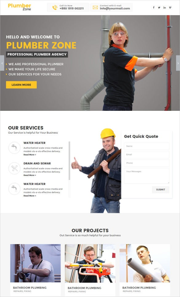 plumbing construction engineering html website template
