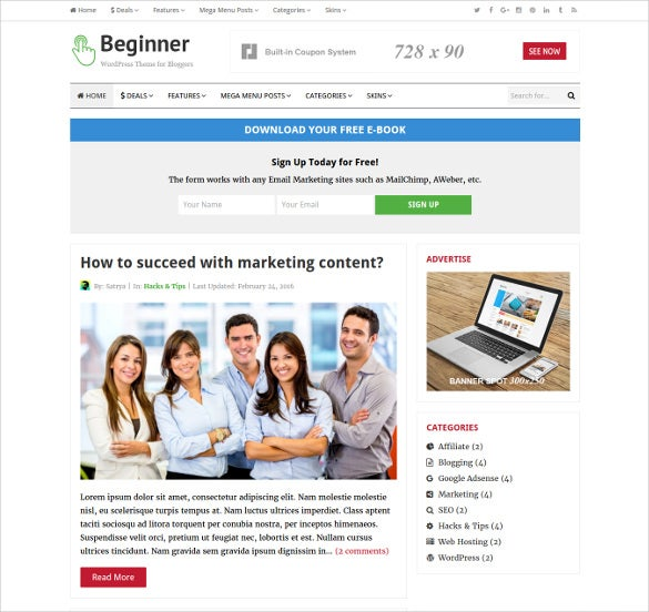 beginner blog deals wordpress theme