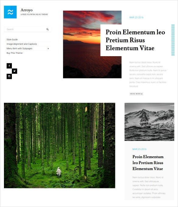 arroyo a free flowing wordpress blog theme