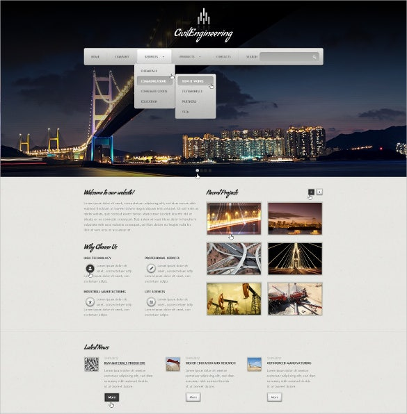 elegant civil engineering website template