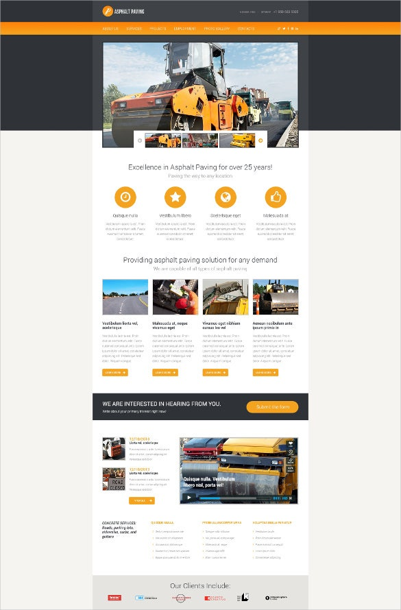 road construction engineering website template
