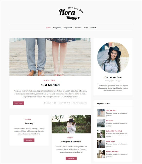 nora elegant wordpress blog theme