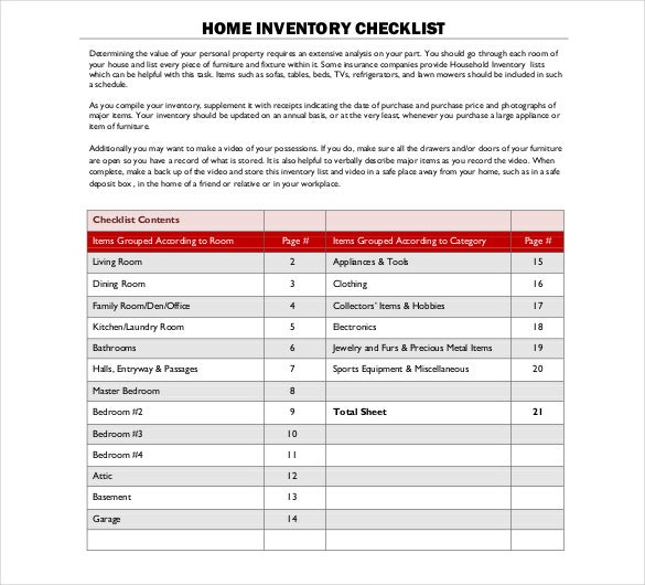 Sample Inventory List 11 Free Word Excel PDF Documents – Household Inventory List Template