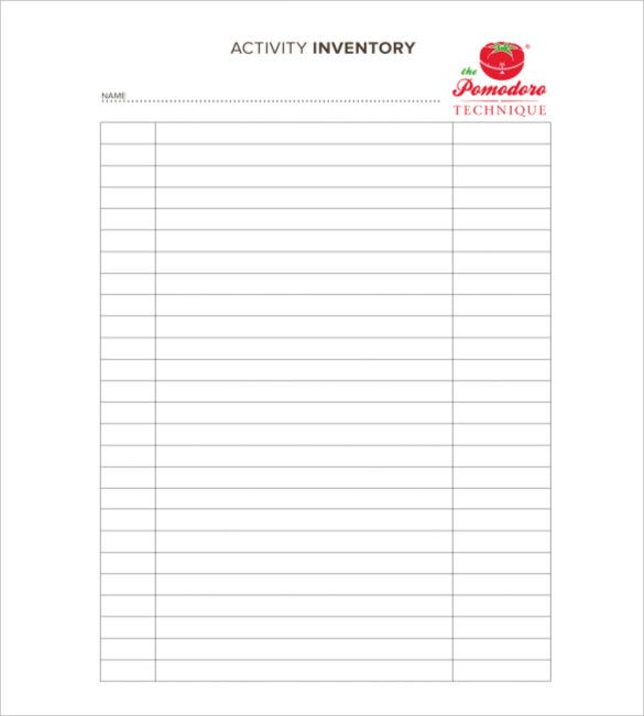 Sample Inventory List 11 Free Word Excel PDF Documents – Excel Inventory List Template
