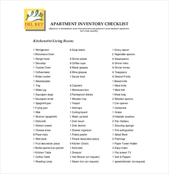 Delightful Apartment Inventory List