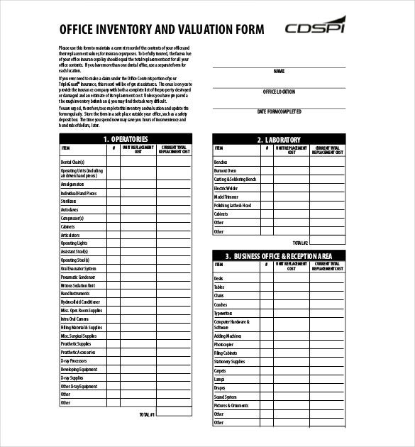 Office Inventory List  Template