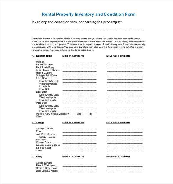 Sample inventory list 30 free word excel pdf for Inventory for rental property template