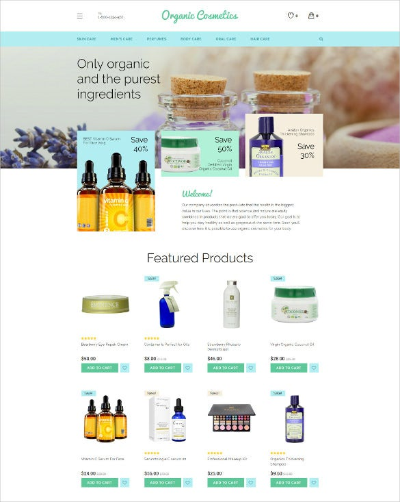 organic cosmetics opencart ecommerce template
