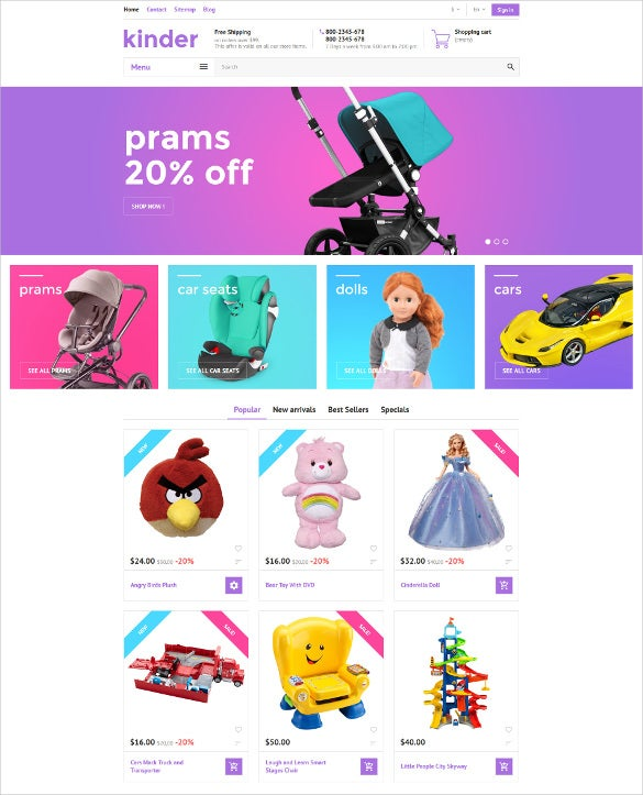 kinder prestashop ecommerce theme