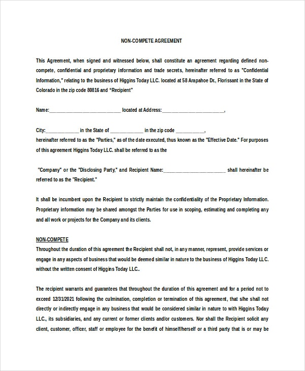 10+ Vendor Non-Compete Agreement Template - Free Sample, Example