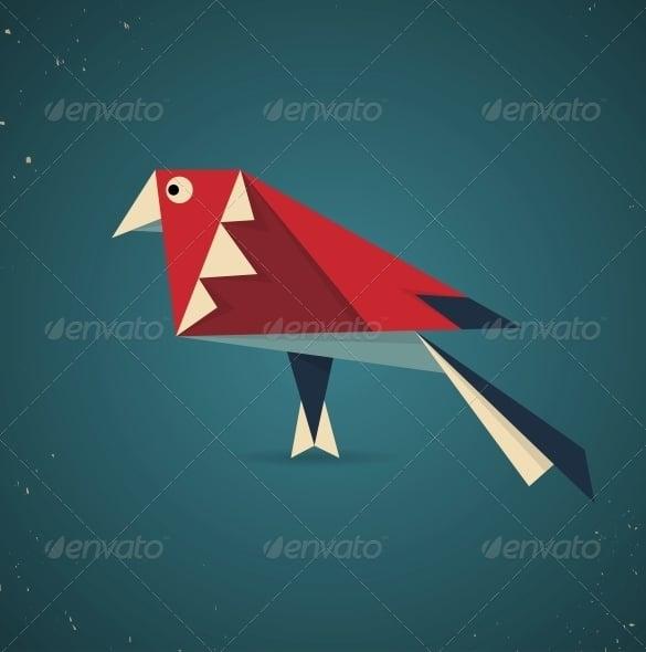 origami bird geometric pattern art