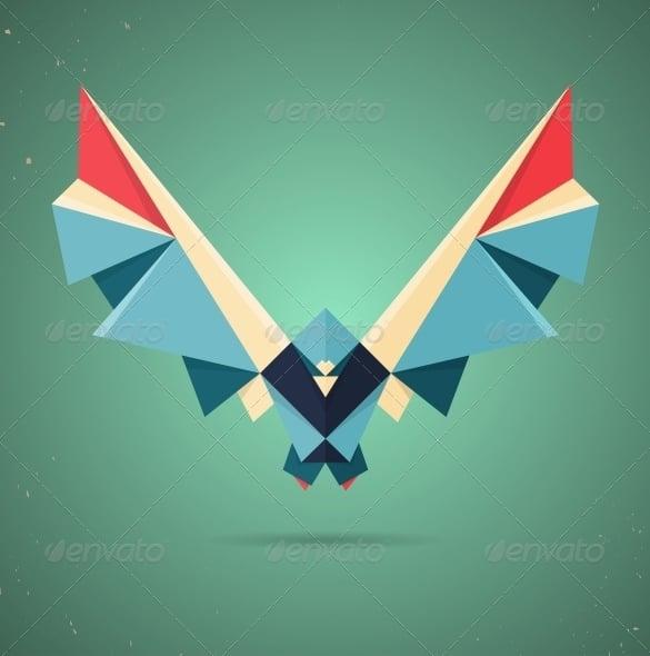 origami bird colourful pigeon geometric art