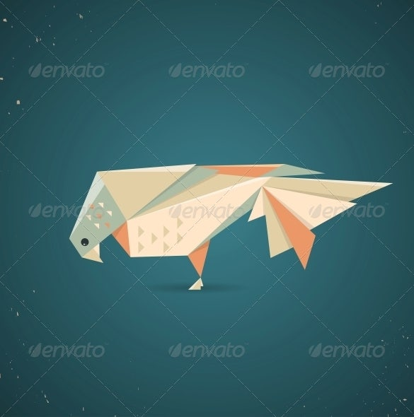 colourful origami pigeon geometric art design