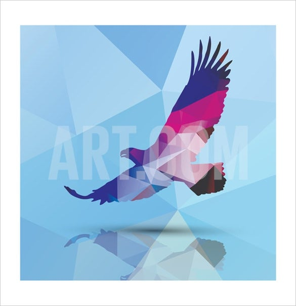 bluelela geometric polygonal eagle pattern design art