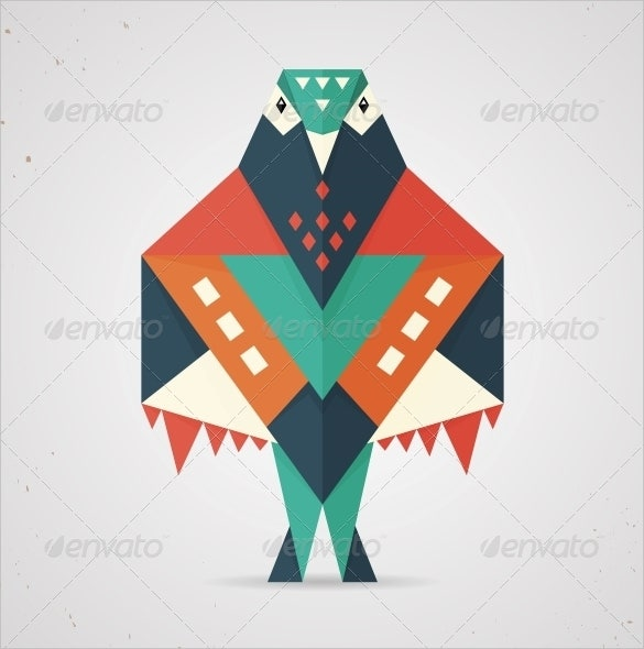 colourful origami pigeon or dove eps download