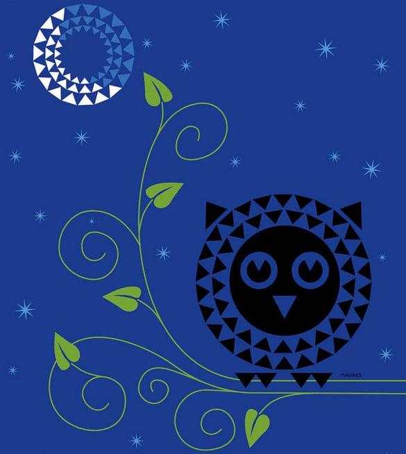 print the night owl geometric birt art